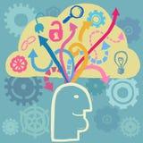 Hjärnan och idéer flödar Arkivfoto
