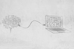 Hjärnan som gjordes av elektroniska strömkretsar, förband till en bärbar dator med ett p Arkivfoto