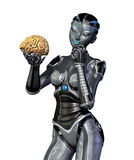 hjärnan undersöker den mänskliga roboten Arkivfoton