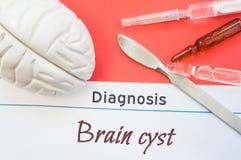 Hjärndiagram, kirurgisk skalpell, injektionsspruta och små medicinflaskor som ligger runt om det titeldiagnosBrain Cyst Concept f arkivfoto