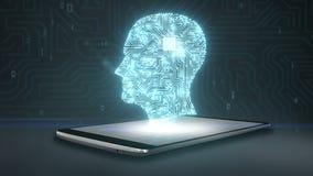Hjärnform av huvudet förbinder digitala linjer på den smarta telefonen, mobil, ilar blocket, växer konstgjord intelligens