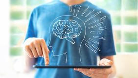 Hjärnillustration med mannen som använder en minnestavla royaltyfri fotografi