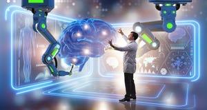 Hjärnkirurgin som göras av den robotic armen royaltyfri foto