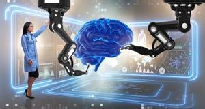 Hjärnkirurgin som göras av den robotic armen Arkivfoto