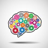 Hjärnkugghjul Begrepp för konstgjord intelligens för AI royaltyfri illustrationer