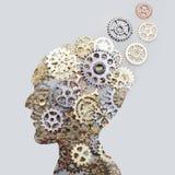 Hjärnmodellbegrepp som göras från kugghjul och kugghjul på grå bakgrund arkivfoto