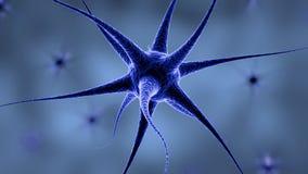 Hjärnnervcell som pulserar med röda ljus vektor illustrationer