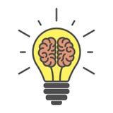 Hjärnor i lightbulb stock illustrationer