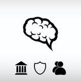 Hjärnsymbol, vektorillustration Sänka designstil Royaltyfri Bild