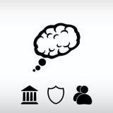 Hjärnsymbol, vektorillustration Sänka designstil Arkivfoto