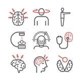 Hjärntumör Linje symboler cancer tecken Vektortecken stock illustrationer