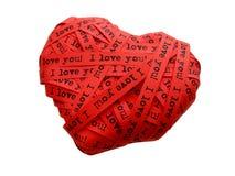 hjärta älskar jag dig Arkivfoto