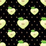 Hjärta av äpplen i sömlös modell på fröbackg Stock Illustrationer