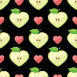 Hjärta av äpplen i sömlös modell på hjärtor drar tillbaka Vektor Illustrationer