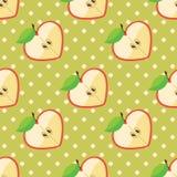 Hjärta av äpplen i sömlös modell på prick b Royaltyfri Illustrationer