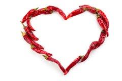 Hjärta av chilipeppar Arkivbild