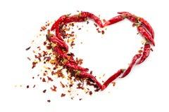 Hjärta av chilipeppar Royaltyfria Foton