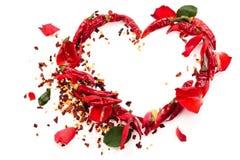 Hjärta av chilipeppar Royaltyfri Fotografi