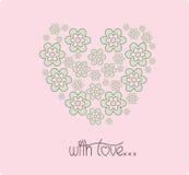 Hjärta av dagen för blommakortvalentin Royaltyfria Bilder