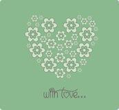 Hjärta av dagen för blommakortvalentin Arkivfoto