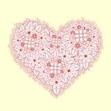 Hjärta av delikata rosa och vita blommor för klotter vektor illustrationer