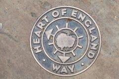 Hjärta av den England vägmarkören i Lichfield, Midlands, England Fotografering för Bildbyråer