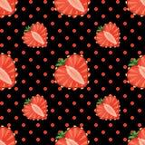 Hjärta av den sömlösa jordgubbebär och pricken Royaltyfri Illustrationer