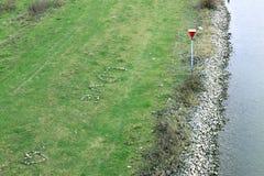 Hjärta av förälskelse som göras av kiselstenar, i holländska floodplains royaltyfri bild