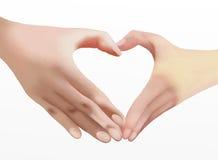 Hjärta av förälskelse, två händer gör hjärtaform vektor illustrationer