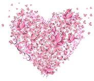 Hjärta av fjärilar vektor illustrationer