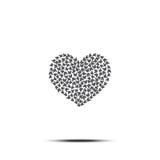 Hjärta av fjärilar vektor white för symbol för bakgrundsförälskelsered rose Valentindagtecken, emblem på vit bakgrund med skugga Royaltyfri Foto