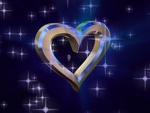 Hjärta av guld på en blå bakgrund stock illustrationer