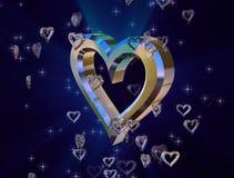 Hjärta av guld på en blå bakgrund arkivfoton