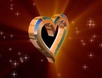 Hjärta av guld på en röd bakgrund royaltyfri illustrationer