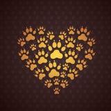 Hjärta av hundspåren. Royaltyfria Bilder