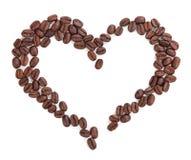 Hjärta av kaffe som isoleras på vit bakgrund royaltyfri fotografi