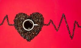 Hjärta av kaffebönor och ett histogram på en röd bakgrund arkivfoto