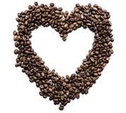 Hjärta av kaffebönor på vit bakgrund Royaltyfri Fotografi