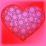 Hjärta av kugghjul Arkivfoto
