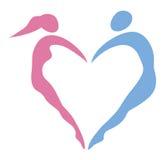Hjärta av kvinnor och män Royaltyfri Foto
