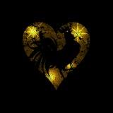 Hjärta av ljusa prickar och stjärnor på en isolerad svart bakgrund Den stiliserade bilden av en tupp illustration vektor illustrationer
