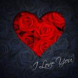 Hjärta av röda rosor Arkivbilder