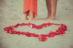 Hjärta av rosa kronblad. En kärlekshistoria. Royaltyfri Fotografi