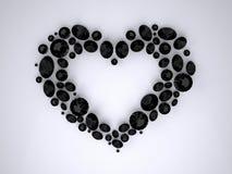 Hjärta av svarta diamanter Royaltyfri Foto