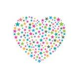 Hjärta består av stjärnadesign också vektor för coreldrawillustration Royaltyfri Fotografi
