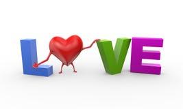 hjärta 3d i ordtextförälskelse Arkivfoton