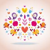 Hjärta-, fågel- och blommavektorillustration Royaltyfri Bild