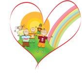 hjärta för barnteckningsvänner skissar Arkivbilder
