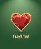 Hjärta för diamant för Valentineâs dag lyxig Royaltyfria Bilder