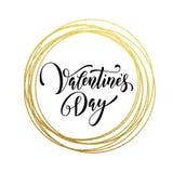 Hjärta för förälskelse för valentindagen blänker guld- hälsningkortet stock illustrationer